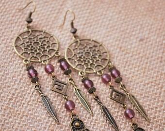 DreamCatcher earrings, gypsy purple beads bronze earrings, Dream Catcher feather hippie summer earrings