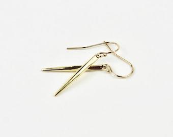Gold Spike Earrings - 14k Rose Gold Silver Dagger Earrings - Minimalist Point Earrings - Silver Spike Earrings - Silver Dagger Earrings