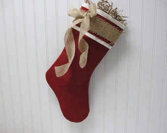 Shabby Chic Christmas Stocking in Red Burlap