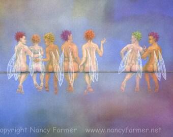 Seven Birds on a Wire - fairy art print
