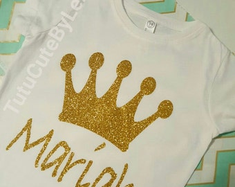 Personalized Gold Glitter Princess Crown Shirt