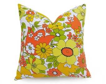 Spring Pillows, Floral Pillows, Yellow Pillow Covers, Mod Pillows, Yellow Orange Pillow, Toss Pillows, Green, Vintage, Retro, 16x16, 18x18