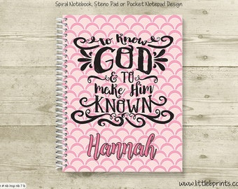 To Know God & To Make Him Known Pink Personalized Spiral Notebook Journal Prayer Journal Diary