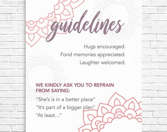 Manadala Guidelines Rules Sign Modern Funeral Celebration of Life In Loving Memory of Guidelines