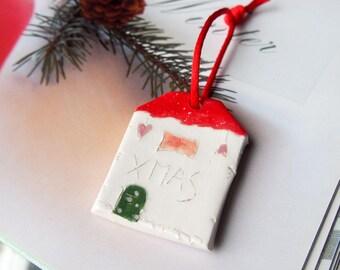 XMAS Christmas tree decoration, Ornament Ceramic houses, Gift tag, Christmas tree decor, Decoration, Home decor,  Glazed Ceramics ornament