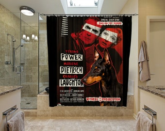 English Toy Terrier Art Shower Curtain, Dog Shower Curtains, Bathroom Decor - Witness for the Prosecution Movie Poster