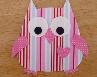 Owl #1, 11 Piece Iron on Fabric Applique (10.5cm x 12cm) White eyes/candy pink accents, made to order, choose owl body fabric, ships from UK
