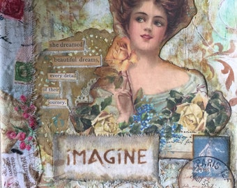 "Imagine 7 1/2 x 9 3/4"" Altered Composition Journal"