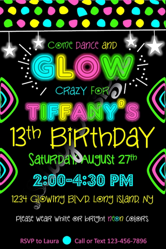 Glow party invite glow in the dark birthday dance