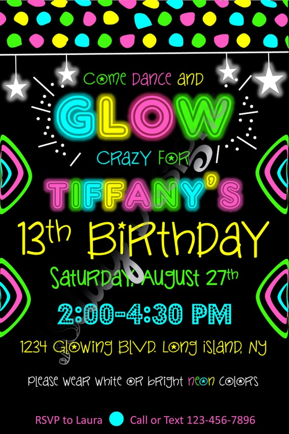 Glow party invite glow in the dark birthday dance