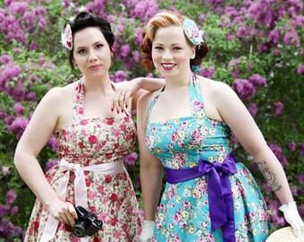 Bespoke Pink or Blue Tea Rose Summer Dress 50s Rockabilly Vintage Wedding Inspired