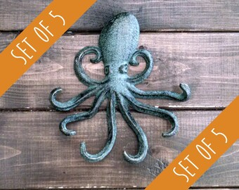 Set of 5 Octopus Hooks | Jewelry Hook | Beach Hook | Coastal Hook | Cast Iron Hook