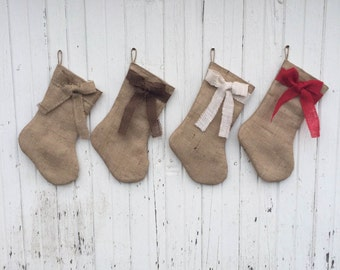 Burlap & Bow Christmas Stocking-Shabby Chic-Natural/Folk/Country/Rustic-CUSTOM Color Combinations Available