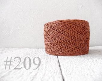 Linen crochet knitting weaving thread  - nut brown color # 209