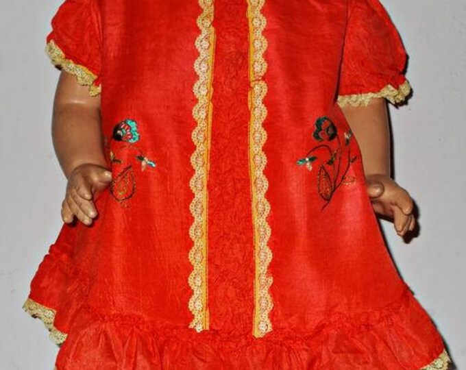 """Vintage 30s 40s Handmade Bright Orange Embroidered Floral Leaf Lace Silk Doll Dress Fits 24"""" Shirley Temple Composition Doll"""