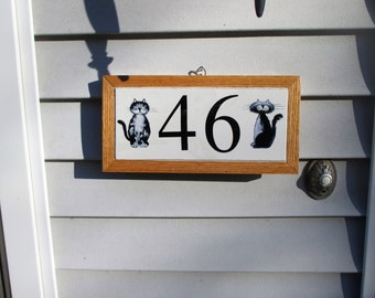 Alley Cats, street address tile, house numbers, house number plaque, tile numbers, decorative tile, cats, kitten, porcelain, home decor
