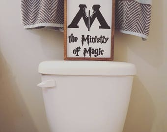 This Way to the Ministry of Magic wooden bathroom sign