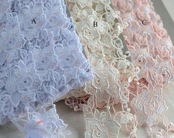 """10 meters 6cm 2.36"""" wide pink apricot embroidery lace trim tapes ribbon for clothes dress fabric L18Q8Y14 free ship"""