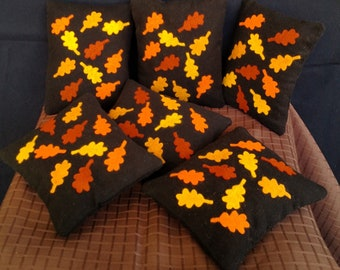 Pincushion - Wool and Flannel - Needle Felted Leaves