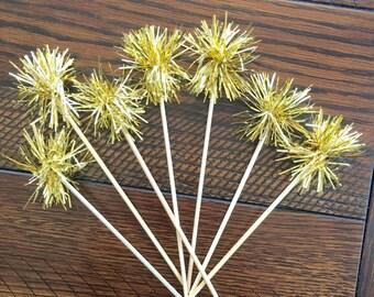 12 DRINK STIRRERS/gold sparkle swizzle sticks/ Cupcake Picks-tinsel
