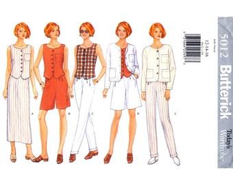 Womens Sewing Pattern Jacket Top Skirt Shorts Pants Butterick 5012 Wardrobe Trouser Suit Size 12 14 16 UNCUT