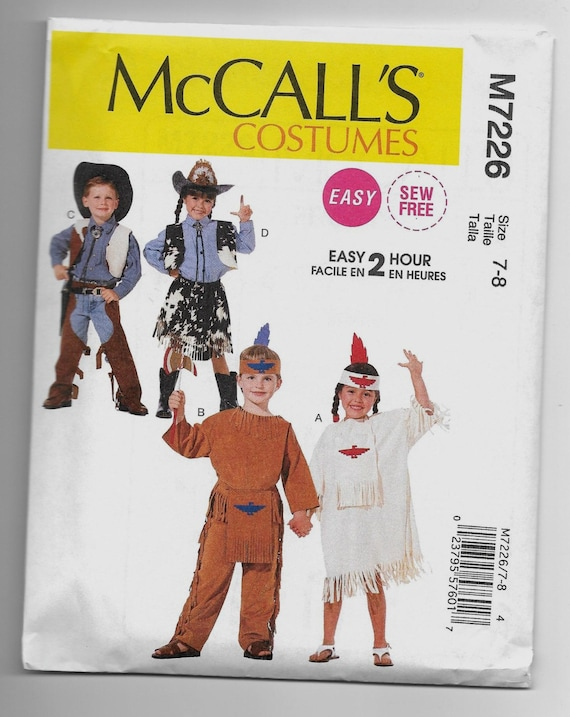 M7226 McCall\'s Cowboy Cowgirl Native American Costumes Sewing ...