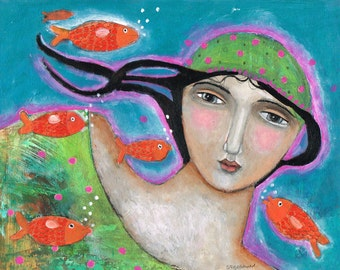 Special Price Free Shipping Mixed Media Painting Print  Modern Folk Art  Expressive Going With The Flow