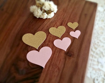 Heart Confetti(150pc)Pink Heart confetti,Gold heart confetti,Pink and gold heart confetti,Heart table scatter,Valentine's Day confetti