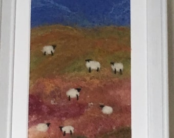 Original  wet felted sheep picture