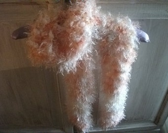 HANDKNITTED SCARF, fluffy, shades of apricot, OOAK