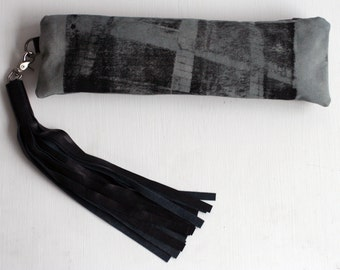 Clutch Handbag, gray purse, screen printed, black leather tassel, Industrial Brooklyn, Unique Gifts for her 032