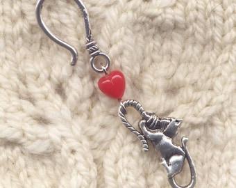 Love Cats Progress Keeper Hook Crochet Knitting Cat and Yarn Single /SM222B