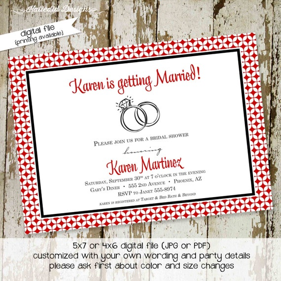 Couples Bridal Invitation happily ever after bridal shower Rehearsal Dinner save the date postcard wedding brunch party 317 Katiedid Designs