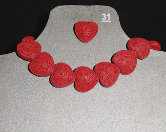 Beads: Hearts in various colors and sizes