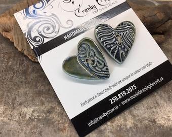 Stoneware Buttons, handmade buttons, handmade stoneware buttons, heart shaped buttons
