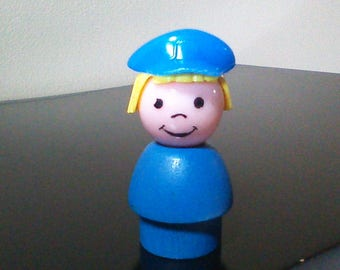 Vintage Fisher Price Little People Wood Police Woman Blue Body Hat Mailman Pilot Cop