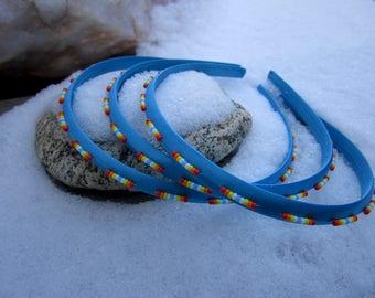 Turquoise Sunset Satin Seed Beaded Headband