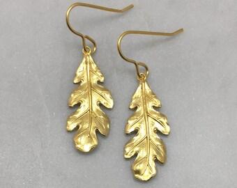 Gold Oak Leaf Earrings