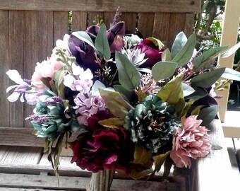 Bohemian Bridal Bouquet, Hand-tied bouquet, Burgundy Wedding, Fall Wedding
