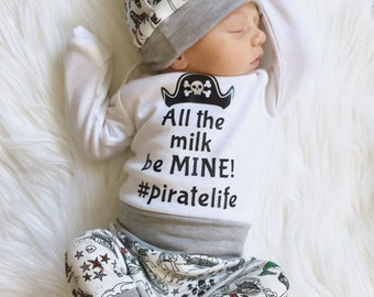 Pirate baby, pirate outfit, Newborn boys going home outfit, Coming home outfit, baby boy gift