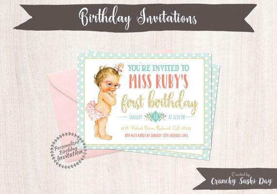 Vintage Mint Baby Girl Birthday Invitations, Retro, Girl Birthday Invitations, First Birthday, Printable Invitations, Baby Girl, Coral 102