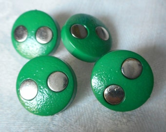 Set of 3 VINTAGE Green & Silver Polka Dot Plastic BUTTONS