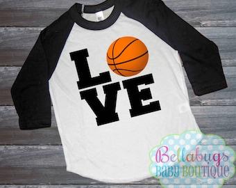 Basketball Love Raglan Tshirt - Size 2 to 12 - Basketball Shirt - Boy or Girl Shirt