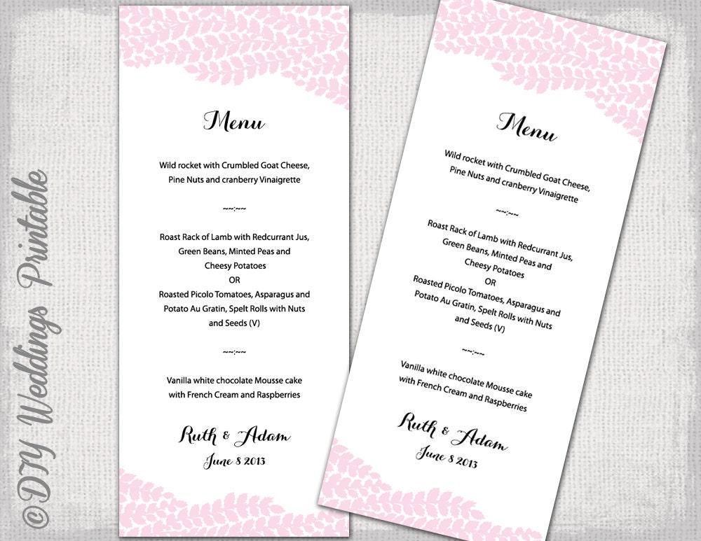 Wedding menu template pink vine wedding menu diy zoom stopboris Image collections