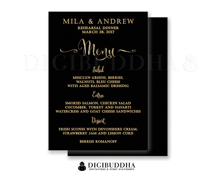 REHEARSAL DINNER MENU Black Gold Glitter Bridal Shower