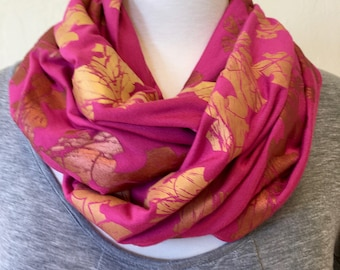 Pink, Gold and Copper Ombre Metallic Screen Printed Infinity Scarf, Techtonic Leaves Print