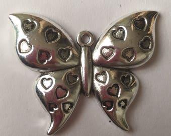 1 x large tibetan silver butterfly pendant