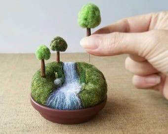 Playscape for Grown-ups, Movable Mini Trees, Made To Order Miniature Landscape River Stream Waterfall, Mother's Day Pincushion Pin Cushion