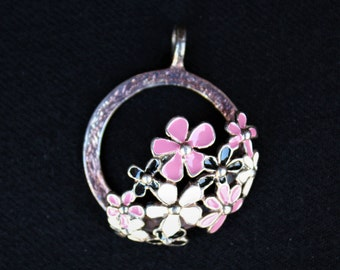 On Sale!! Sterling Silver SIGAL Enamel Hawaiian Tropical FLOWER PENDANT
