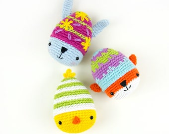 Ami-easter eggs: bunny, chick and fox | amigurumi crochet pattern